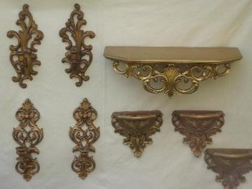 Hollywood regency vintage gold rococo plastic candle sconces, shelf, wall pockets