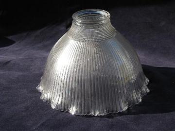 Holophane orig antique prismatic glass shade, vintage industrial light