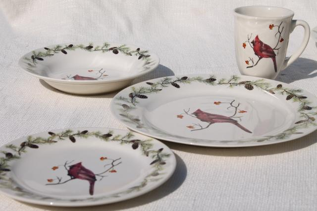 Home Goods Sonoma Stoneware Red Cardinal Bird In Winter Christmas Holiday Dinnerware