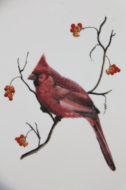 Home Goods Sonoma stoneware, red cardinal bird in winter