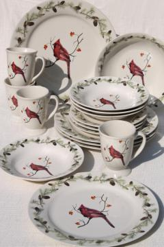 Home Goods Sonoma stoneware, red cardinal bird in winter Christmas holiday dinnerware<