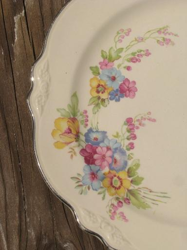 Homer Laughlin Virginia Rose Floral Bouquet Plates Lot