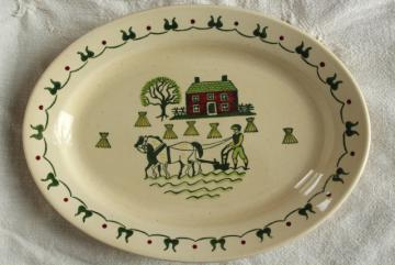 Homestead Provincial vintage folk art farm scene platter, Metlox pottery Poppy Trail