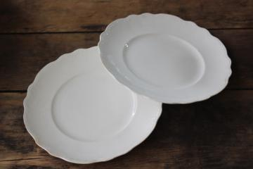 Hudson pattern antique Homer Laughlin white china plates, embossed scalloped border