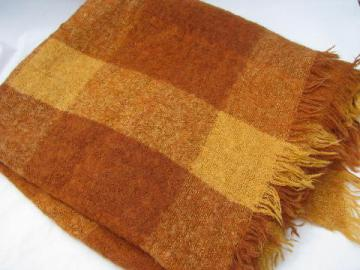 Hudson's Bay blanket label, vintage bittersweet plaid mohair wool throw, Scotland