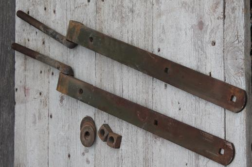 Huge Antique Iron Hinges, Pair Of Heavy Farm Gate Hinges Barn Door Hardware