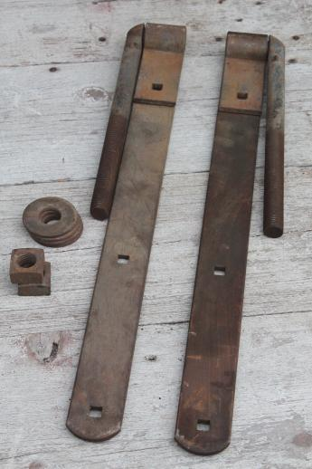 Huge Antique Iron Hinges Pair Of Heavy Farm Gate Hinges
