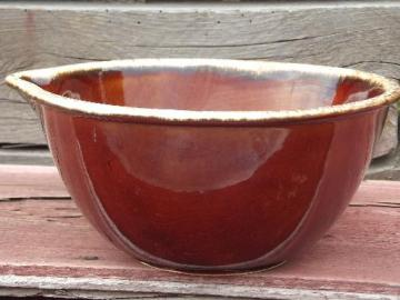 Hull Oven Proof brown drip pottery mixing bowl w/ lip pouring spout
