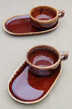 Hull brown drip glaze pottery soup mugs u0026 snack tray plates soup u0026 sandwich sets & drip glaze pottery