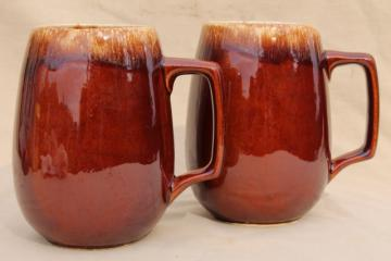 Hull brown drip pottery - pair large beer steins, grand mugs or tavern cups for cider