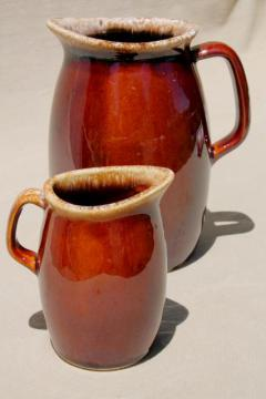 Hull oven proof pottery cream pitcher & milk jug, brown drip glaze stoneware