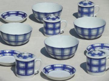 IDG china blue & white plaid bowls, pots de creme set w/ Willams Sonoma labels