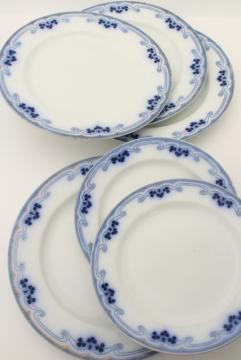 Idris flow blue china Grindley - England, antique Art Nouveau vintage plates