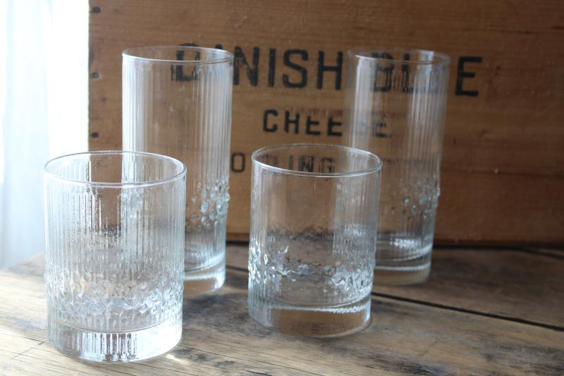 Iittala Niva mod vintage ice textured glass tumblers & rocks glasses