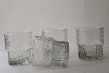 Iittala ice textured tumblers, mid century mod vintage on the rocks old fashioned glasses