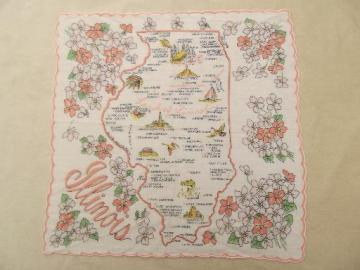 Illinois map print hanky, 50s 60s vintage souvenir handkerchief