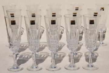 Imperator Luminarc French crystal stemware, champagne or wine glasses, unused vintage w/ labels