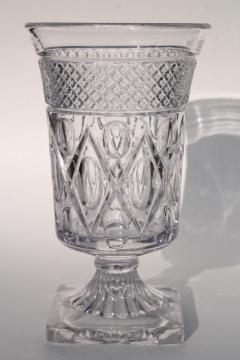 Imperial Cape Cod pattern flower vase, crystal clear vintage glass footed urn shape vase