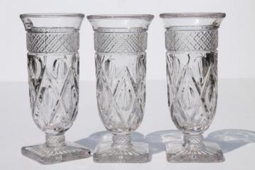 Imperial Cape Cod pattern glass footed tumblers / parfait glasses