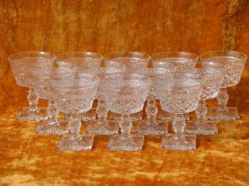Imperial Cape Cod pattern glass stemware, 12 vintage sherbets / champagnes