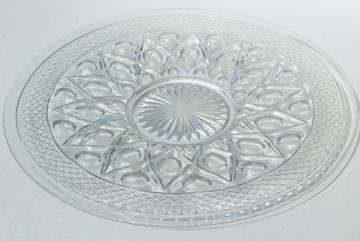 Imperial Cape Cod pattern glass torte plate, large cake plate or sandwich tray, crystal clear glass