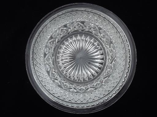 Imperial Cape Cod pattern glass, vintage pressed glass mayo bowl and plate