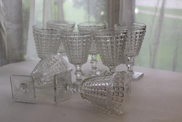Imperial Monticello water goblets or wine glasses heavy pressed glass waffle block pattern