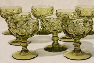 Imperial Provincial (Heisey Whirlpool) pattern glass sherbet or champagne glasses verde green