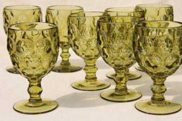 Imperial Provincial (Heisey Whirlpool) pattern glass water goblet glasses verde green