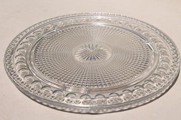 Imperial Tradition birthday cake plate for ring of candles, vintage pressed glass torte plate