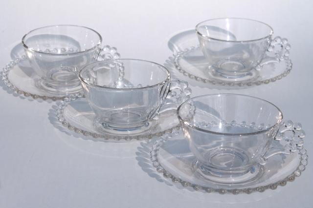 Imperial Candlewick Gl Vine Tea Cups Saucers W Beaded Edge