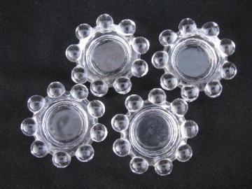 Imperial candlewick pattern glass, individual salt dip dishes, set of four salts