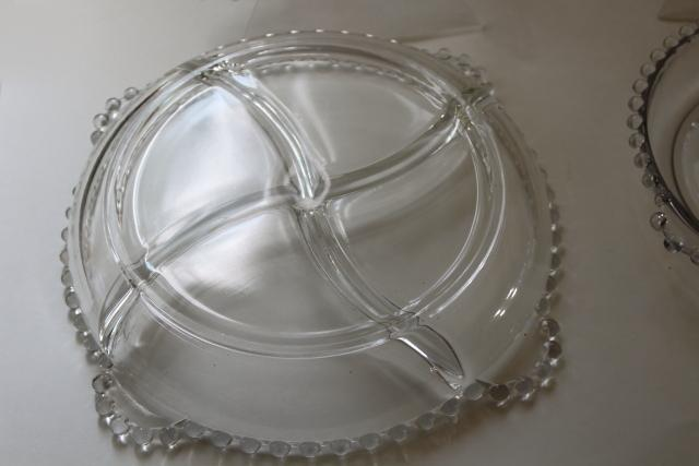 Imperial candlewick pattern glass relish dishes, mid-century vintage elegant glassware