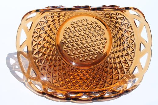 Imperial glass laced edge bowl, open lace pattern amber glass fruit basket
