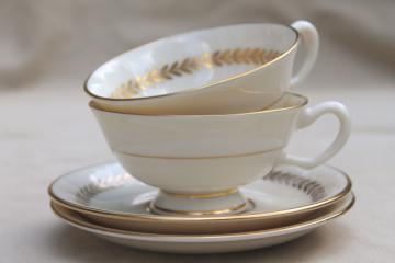 Imperial gold laurel border Lenox china set, vintage replacement china tea cups & saucers