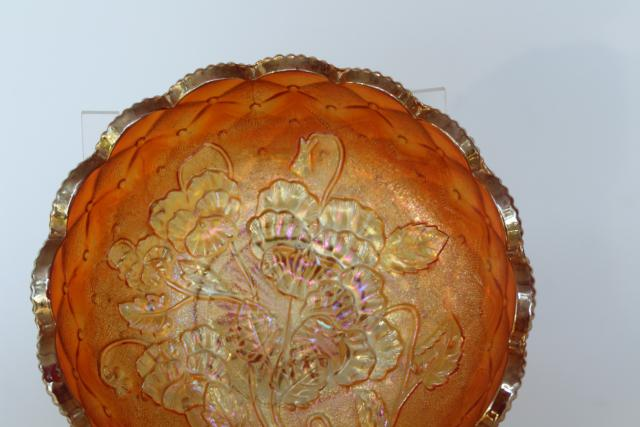Imperial pansy pattern candy dish bowl w/ handle, vintage carnival glass marigold luster