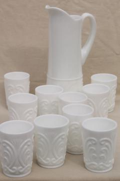 Imperial scroll vintage milk glass, tall pitcher & set of 10 tumblers, drinking glasses set