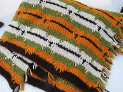 Indian Blanket Style Vintage Crochet Afghan Green Gold