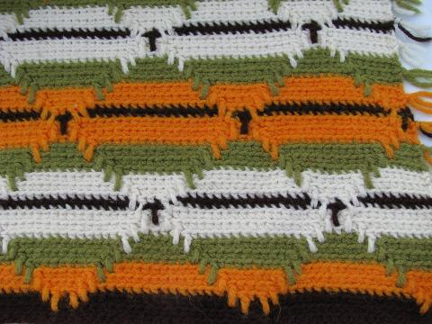 Indian blanket style vintage crochet afghan, green & gold