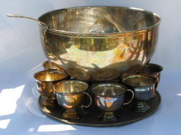 Indian solid brass punch set, cups, pedestal bowl, ladle and tray