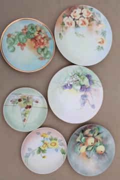 Indian summer fruit & floral hand painted china plates, mismatched antique vintage dishes
