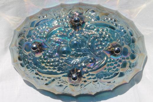 Indiana carnival glass bowl, 70s vintage blue iridescent glass harvest grapes fruit bowl