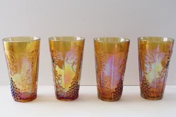 Indiana carnival glass tumblers, amber gold iridescent grapes pattern drinking glasses