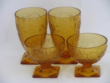 Indiana daisy pattern vintage amber glass, footed tumblers & sherbet glasses
