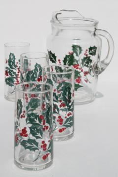 Indiana glass Christmas holly berry print pitcher & drinking glasses