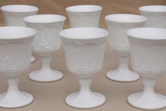 Indiana glass harvest grapes vintage milk white water glasses, 8 goblets