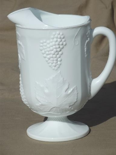 Indiana harvest grape milk glass, vintage grapes pattern lemonade pitcher