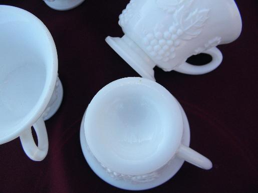 Indiana harvest grapes milk glass, 8 footed cups for tea, punch, snack sets