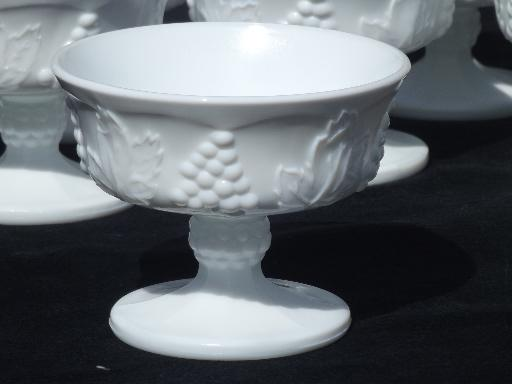 Indiana harvest grapes milk glass sherbet bowls, vintage Colony glass