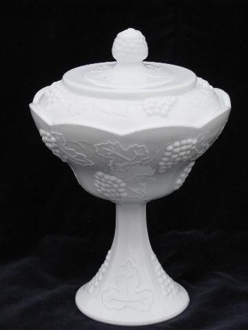 Indiana harvest grapes pattern vintage milk glass compote or candy bowl